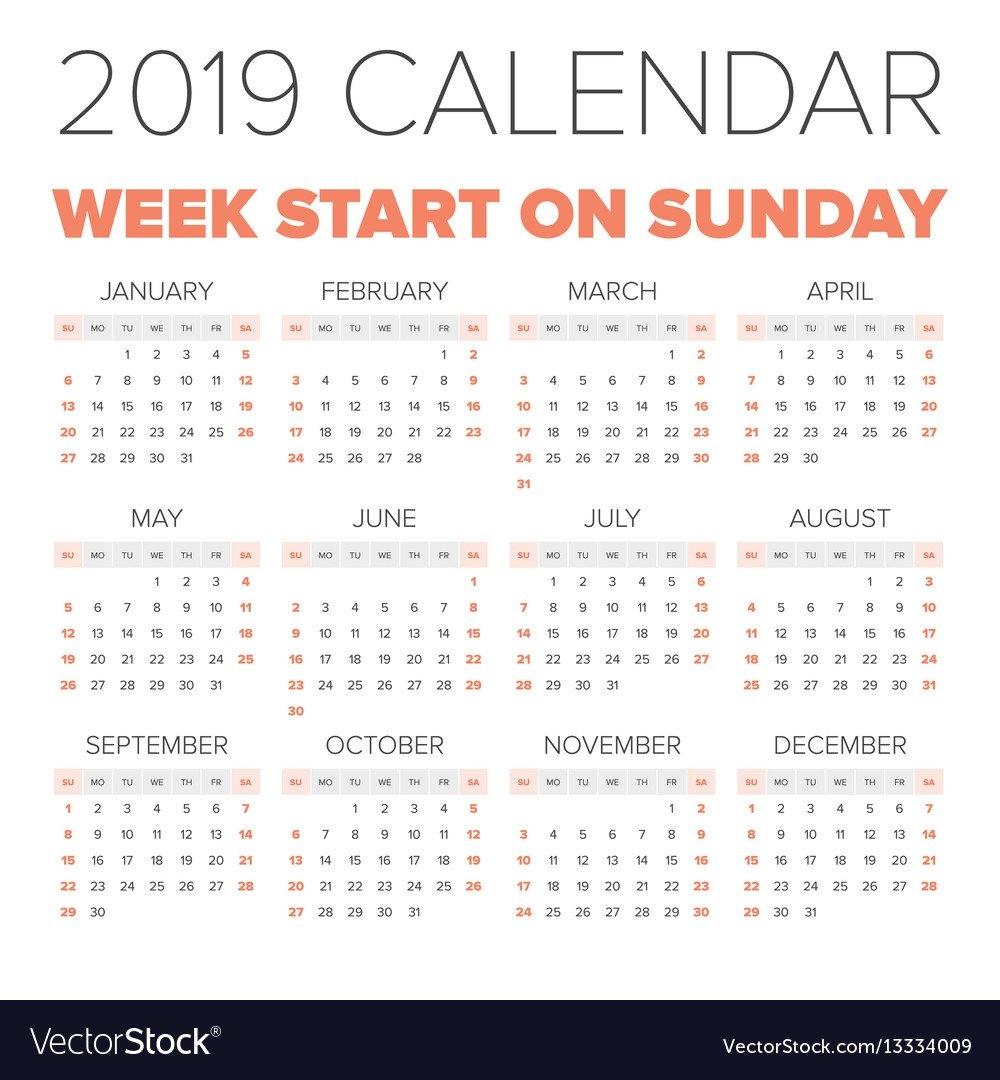 Simple 2019 Year Calendar Royalty Free Vector Image Calendar 2019 Year