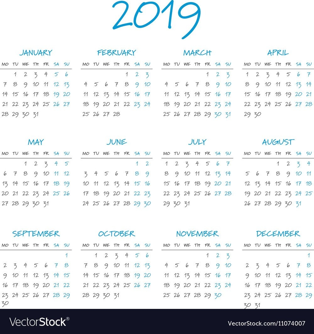 Simple 2019 Year Calendar Royalty Free Vector Image Calendar 2019 Year