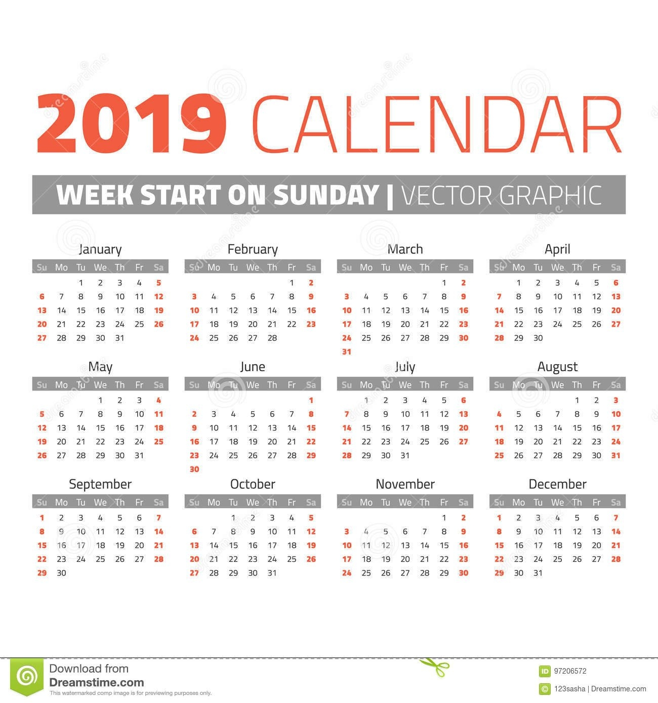 Simple 2019 Year Calendar Stock Vector. Illustration Of Date - 97206572 Calendar Week 8 2019