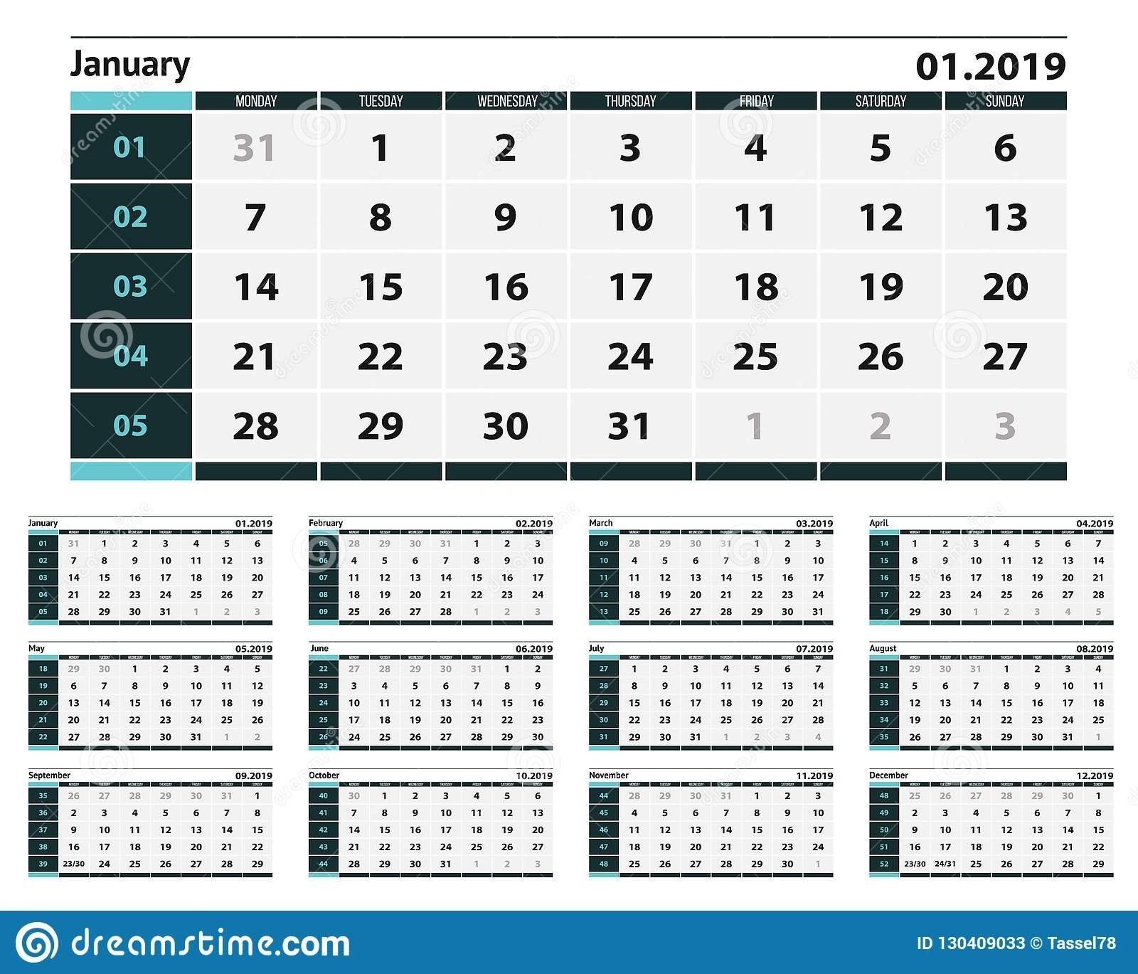 Simple Blue And Grey Calendar Design For 2019. Stock Vector Calendar 02/2019
