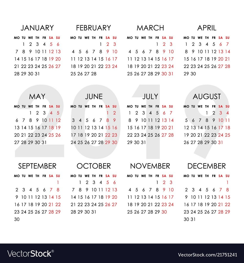 Simple Calendar For 2019 Year Week Starts Monday Vector Image Calendar 2019 Monday Start