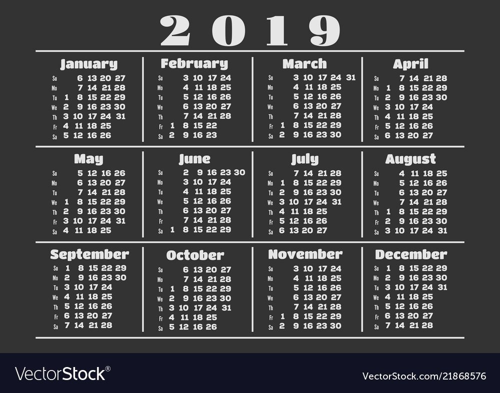 Simple Calendar Layout For 2019 Year Royalty Free Vector Calendar 2019 Layout