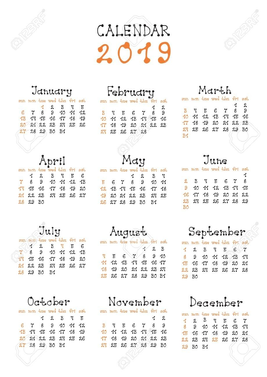 Simple Calendar Layout For 2019 Year. Week Starts From Sunday Calendar 2019 Layout
