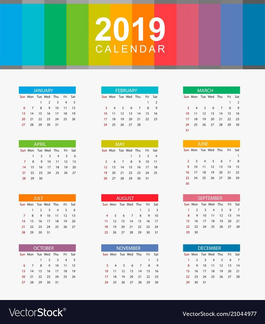 Simple Calendar Layout For Year 2019 Week Starts Vector Image Calendar 2019 Layout