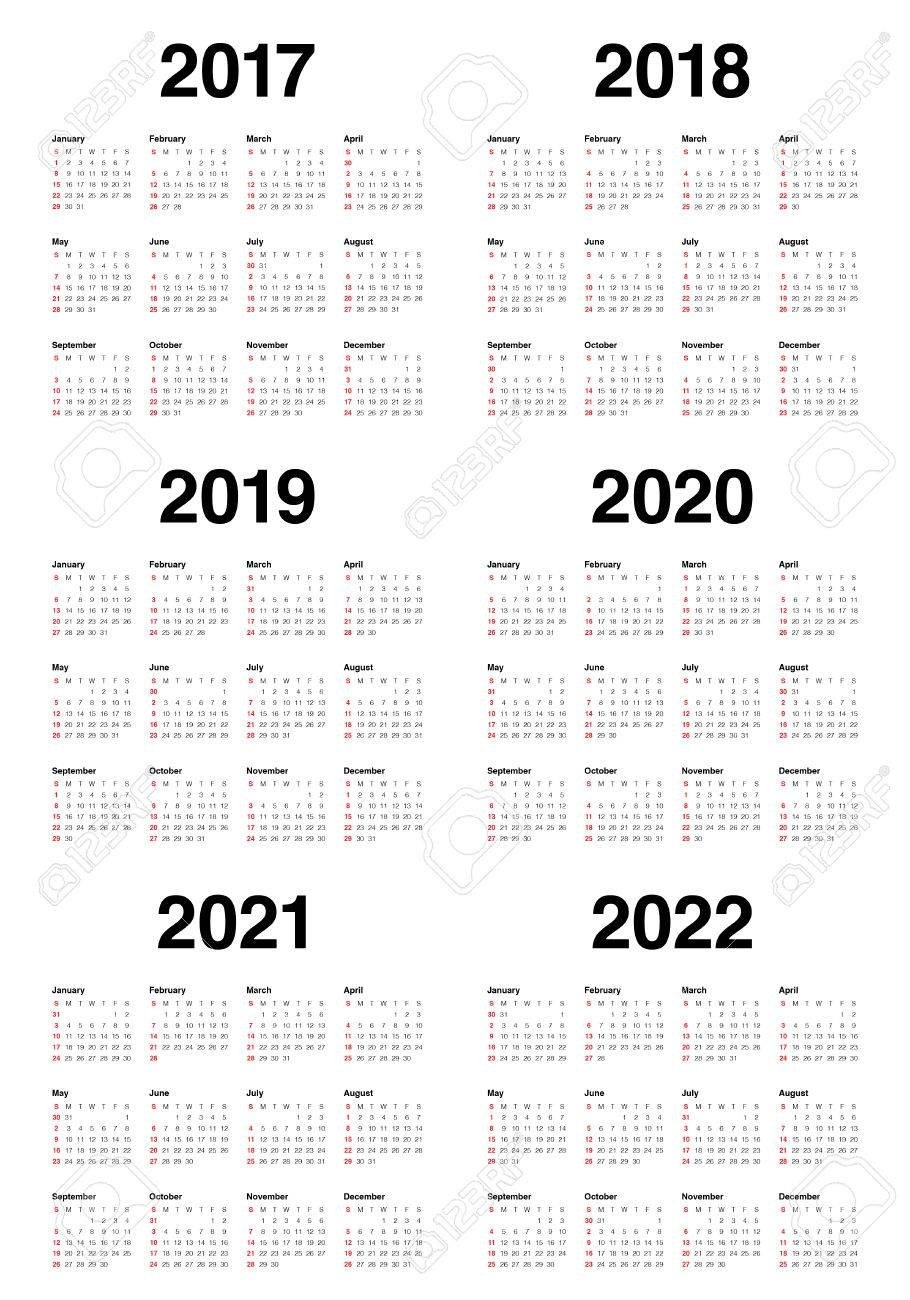 Simple Calendar Template For 2017, 2018, 2019, 2020, 2021 And Calendar 2019 To 2021