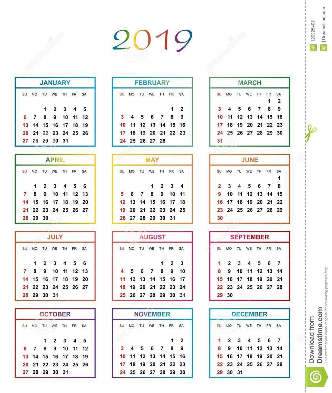 Simple Color Calendar For The Year 2019 With Name Of Day, Months In Calendar 2019 Days
