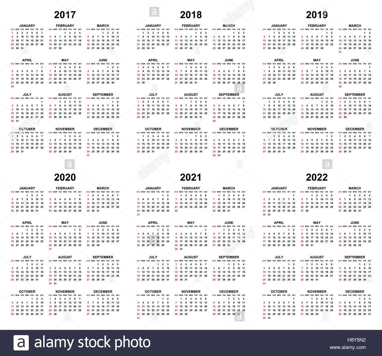 Simple Editable Vector Calendars For Year 2017 2018 2019 2020 2021 4 Year Calendar 2019 To 2022