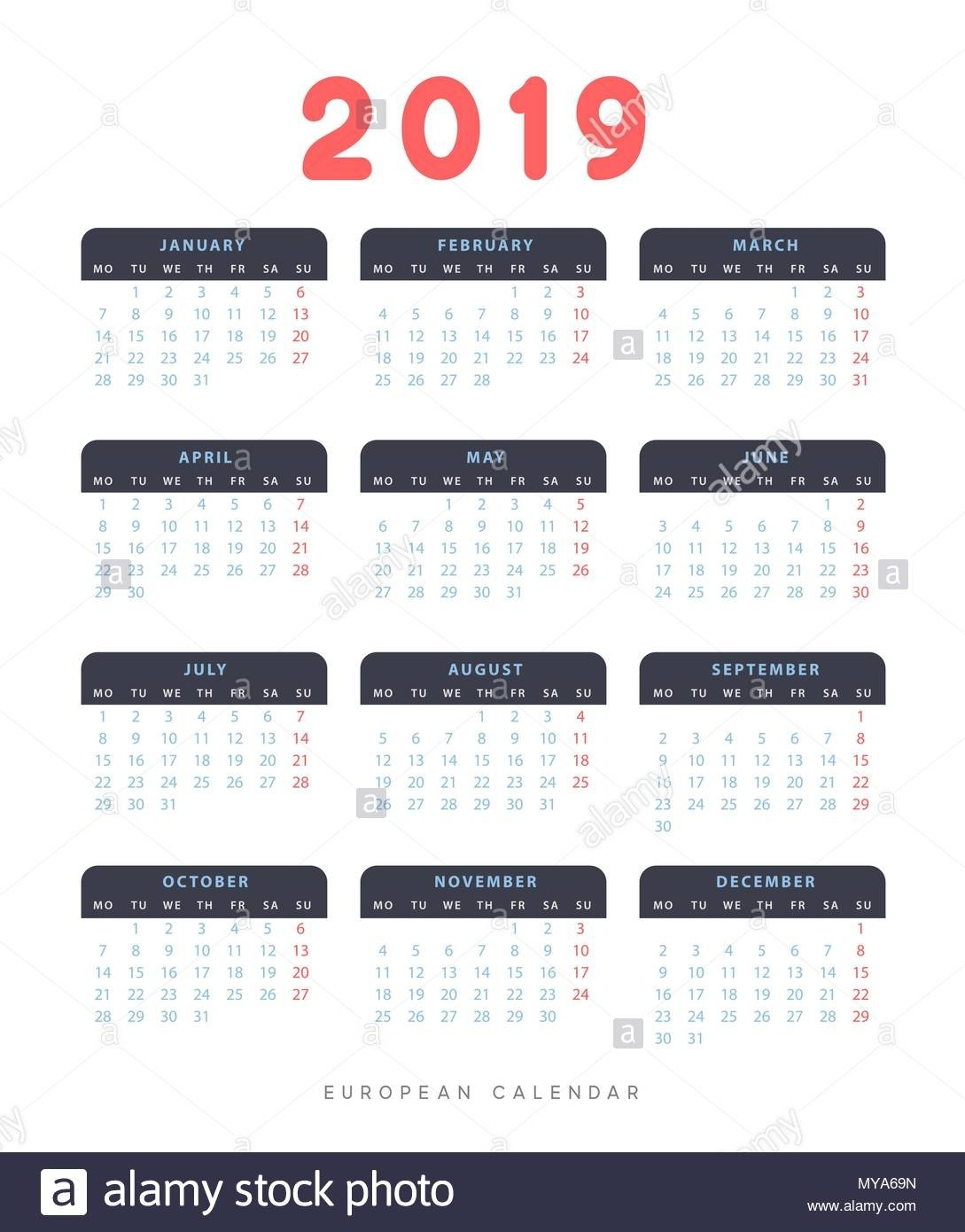 Simple European Calendar For 2019 Years, Week Starts On Monday Stock Calendar 2019 Europe