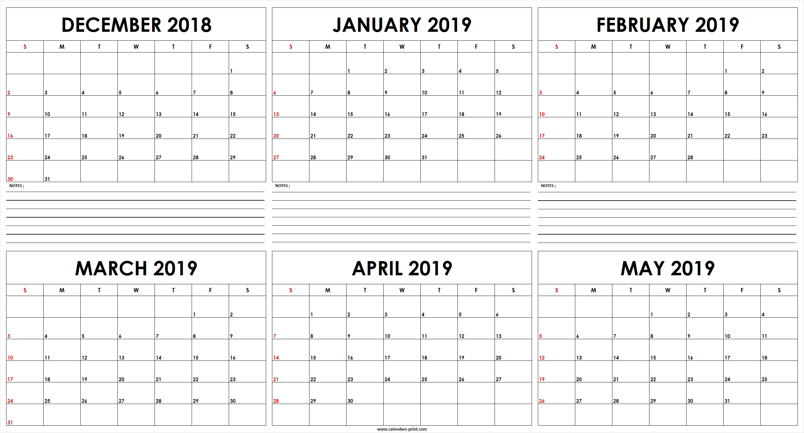 Six Monthly December 2018 To May 2019 Calendar Template | Editable May 6 2019 Calendar
