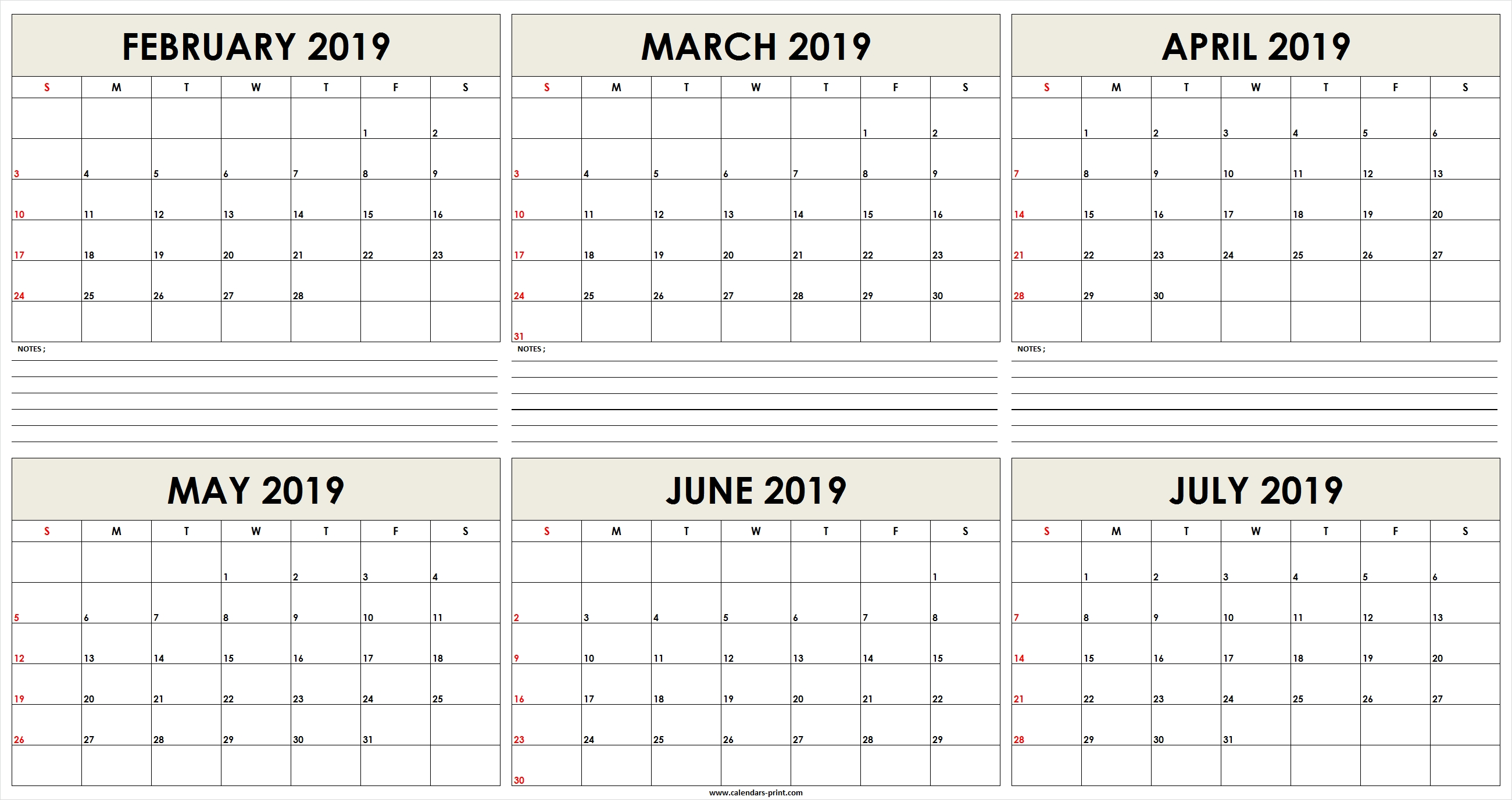 Six Monthly February 2019 To July 2019 Calendar Template | Editable July 6 2019 Calendar