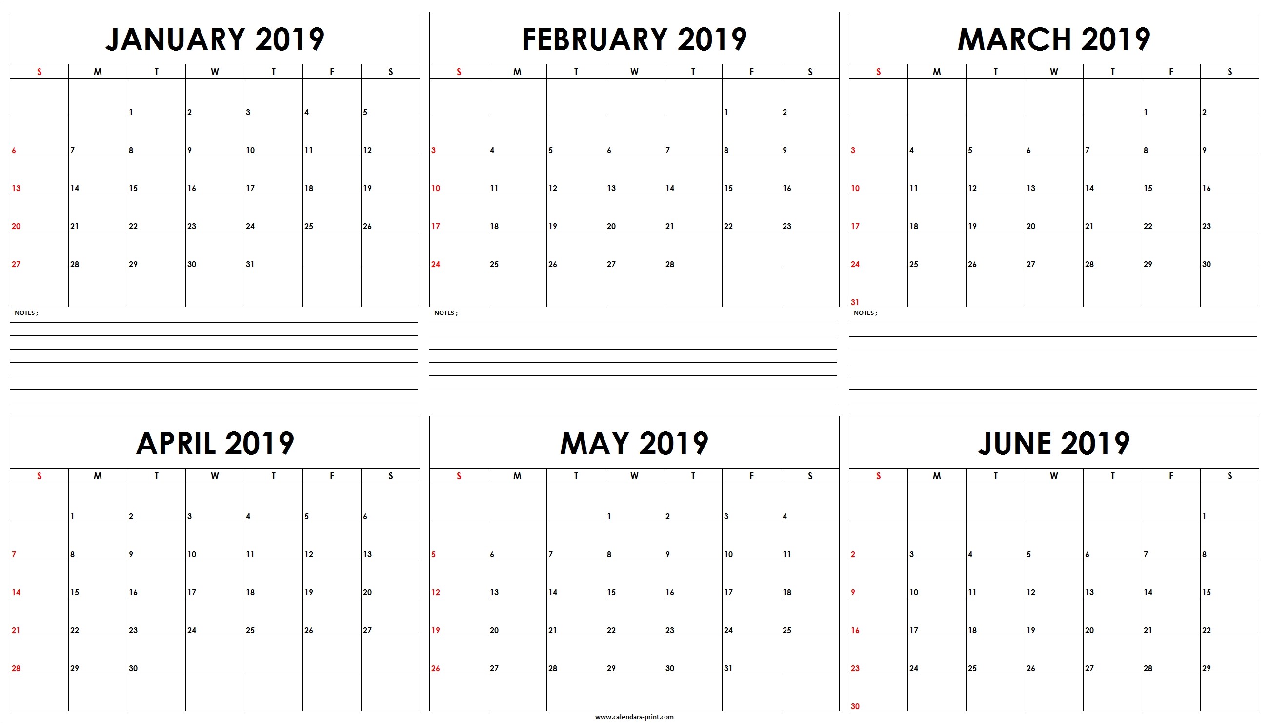 Six Monthly January 2019 To June 2019 Calendar Template | Editable Calendar 2019 January To March