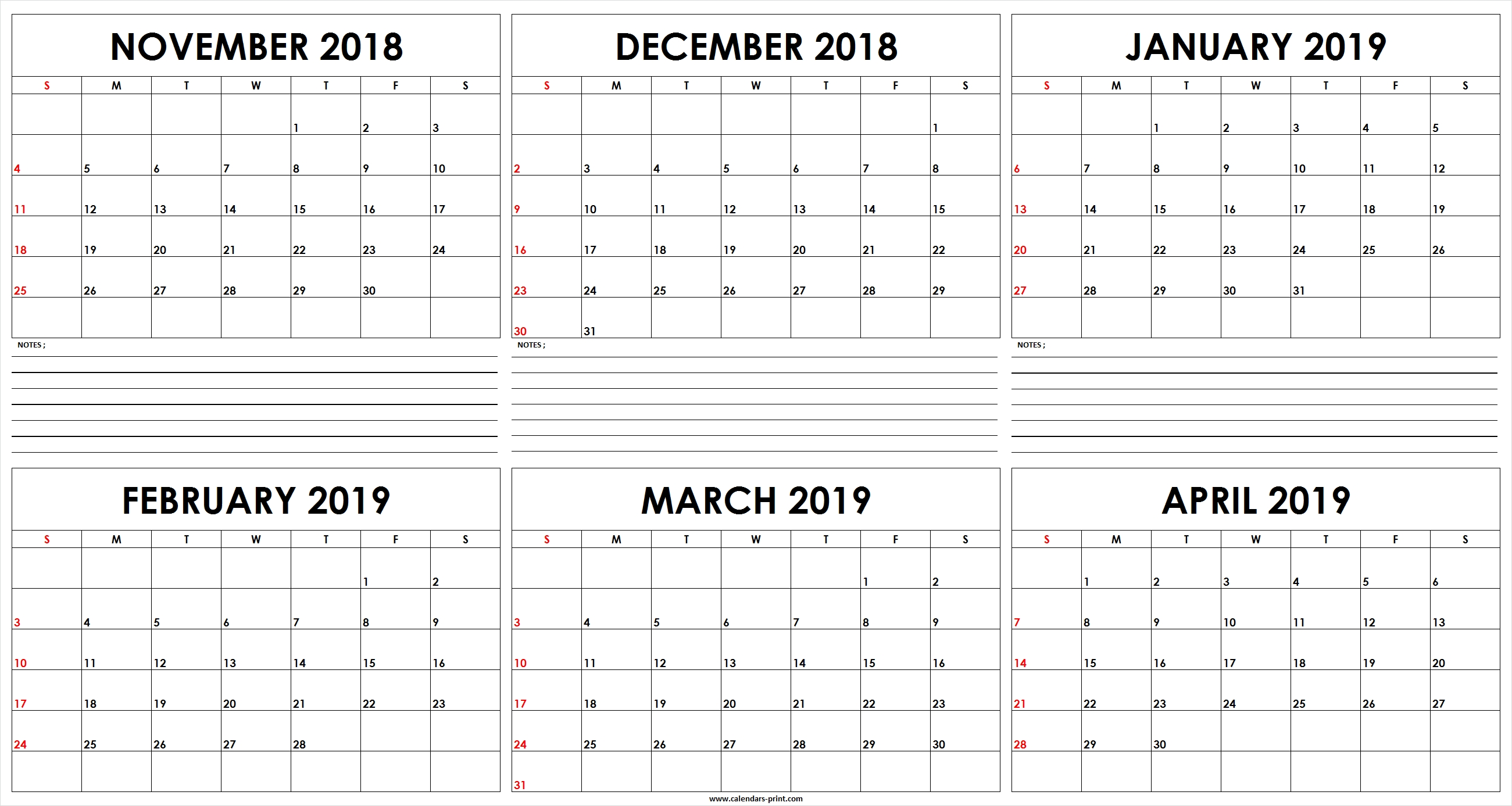 Six Monthly November 2018 To April 2019 Calendar Template | Editable Feb 6 2019 Calendar