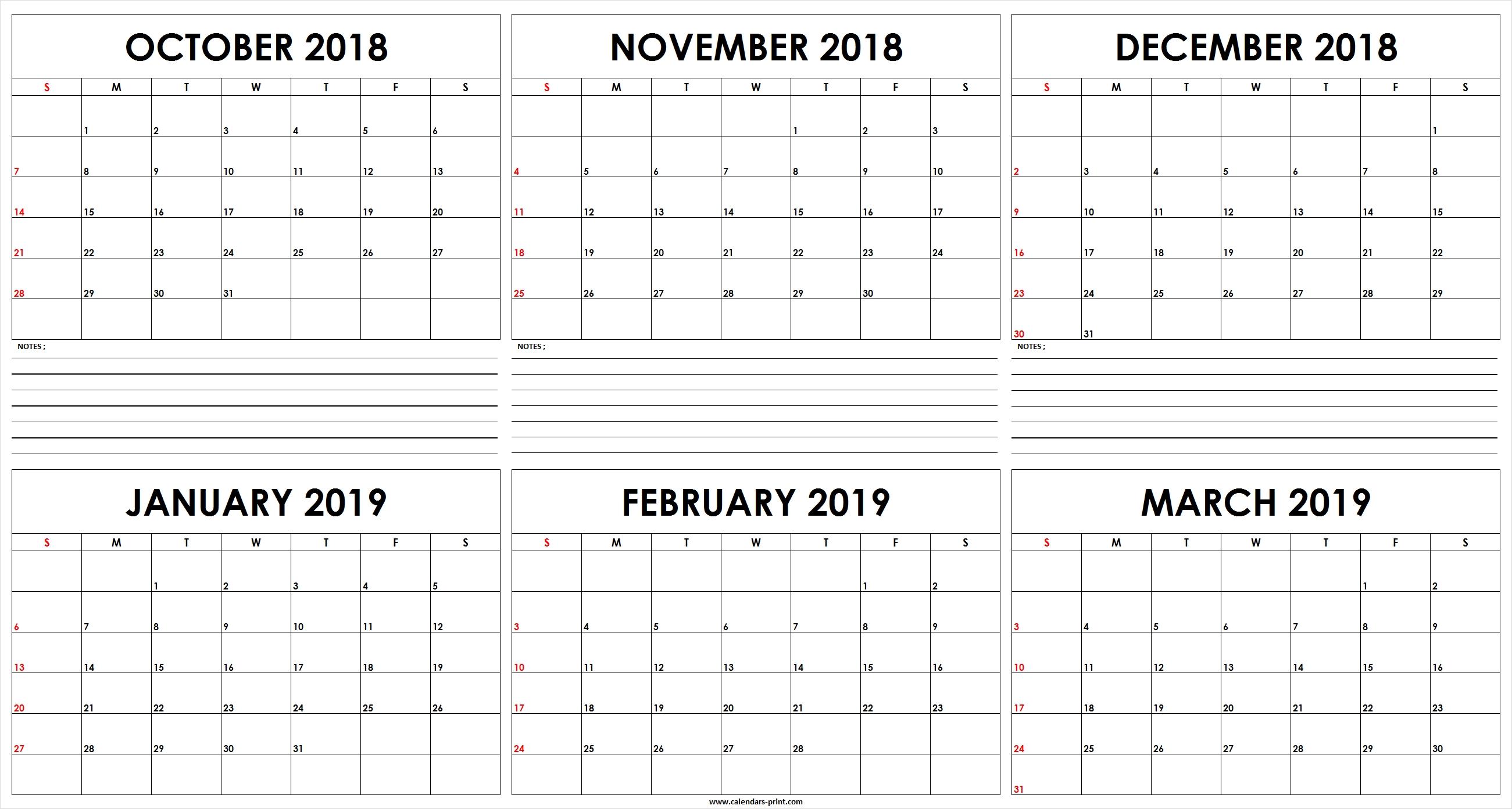 Six Monthly October 2018 To March 2019 Calendar Template | Editable Feb 6 2019 Calendar
