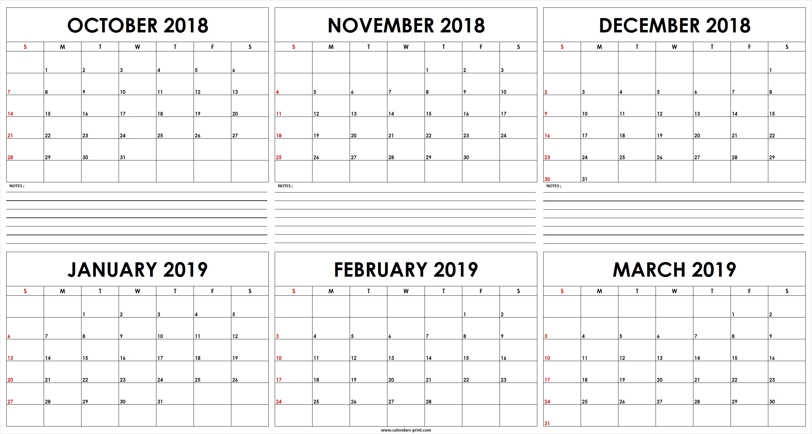 Six Monthly October 2018 To March 2019 Calendar Template | Editable March 6 2019 Calendar