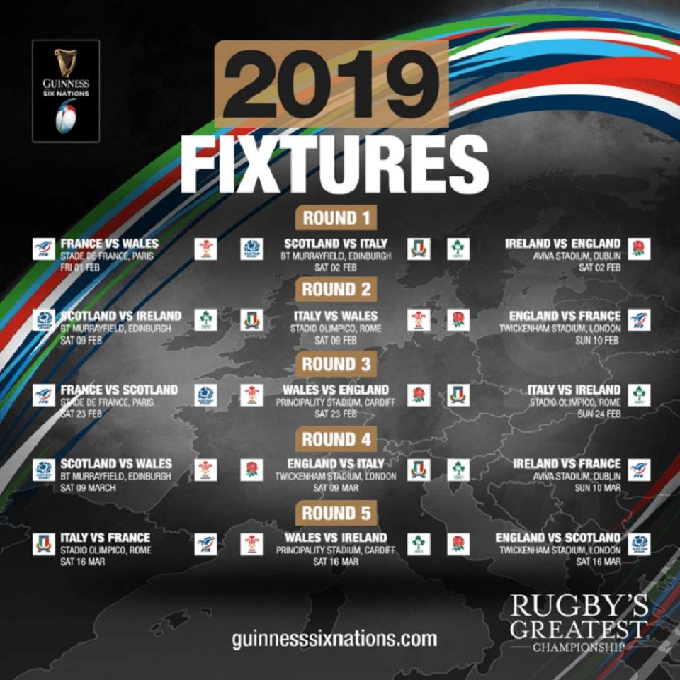 Six Nations Fixtures 960X960 | Haven Restaurant 6 Nations Calendar 2019