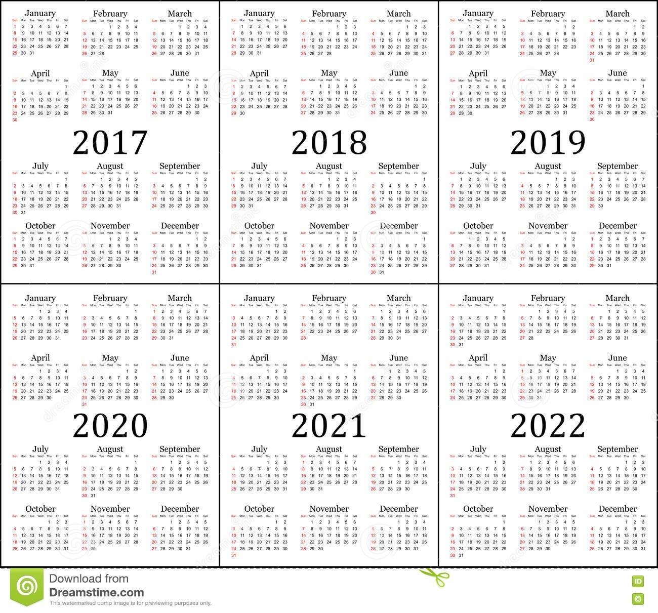 Six Year Calendar - 2017, 2018, 2019, 2020, 2021 And 2022 Stock 4 Year Calendar 2019 To 2022