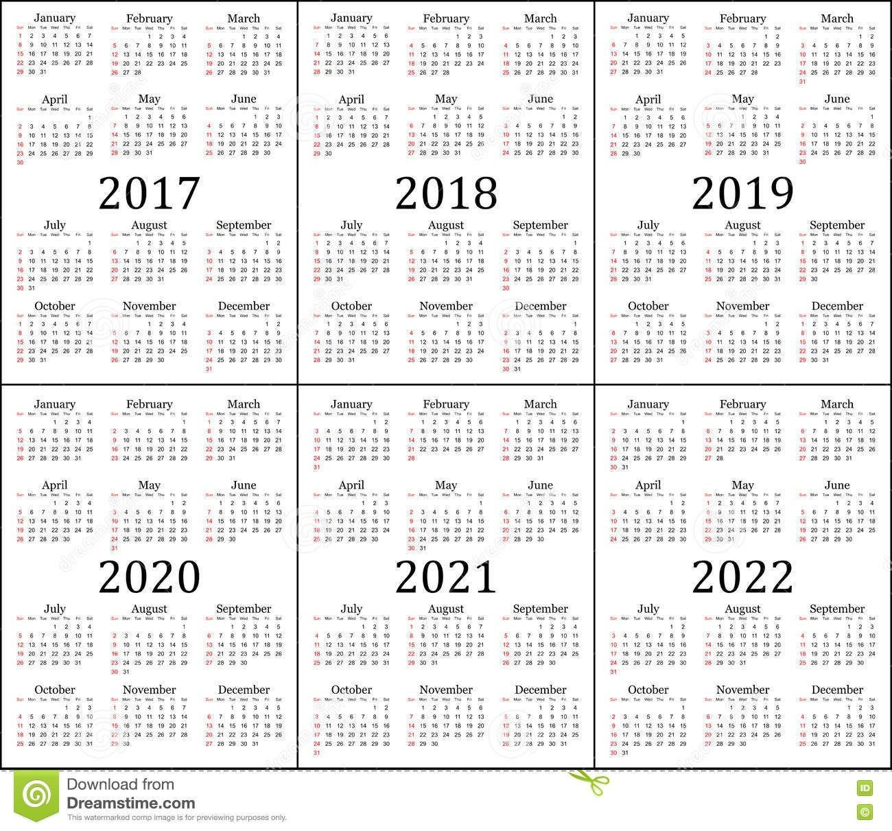 Six Year Calendar - 2017, 2018, 2019, 2020, 2021 And 2022 Stock Calendar 2019 Kolkata