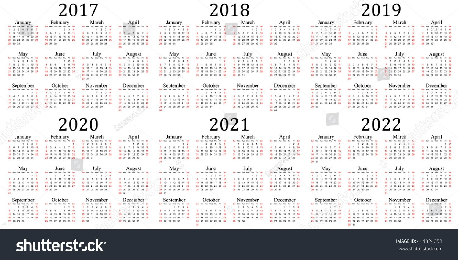 Six Year Calendar 2017 2018 2019 Stock Vector (Royalty Free 5 Year Calendar 2019 To 2023