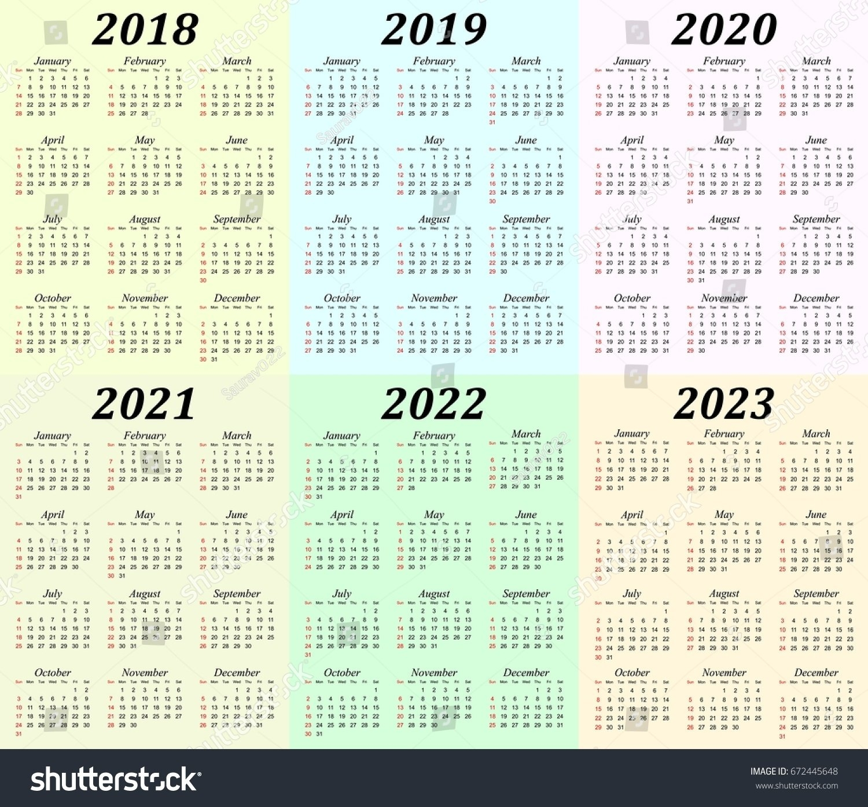 Six Year Calendar 2018 2019 2020 Stock Vector (Royalty Free 4 Year Calendar 2019 To 2022