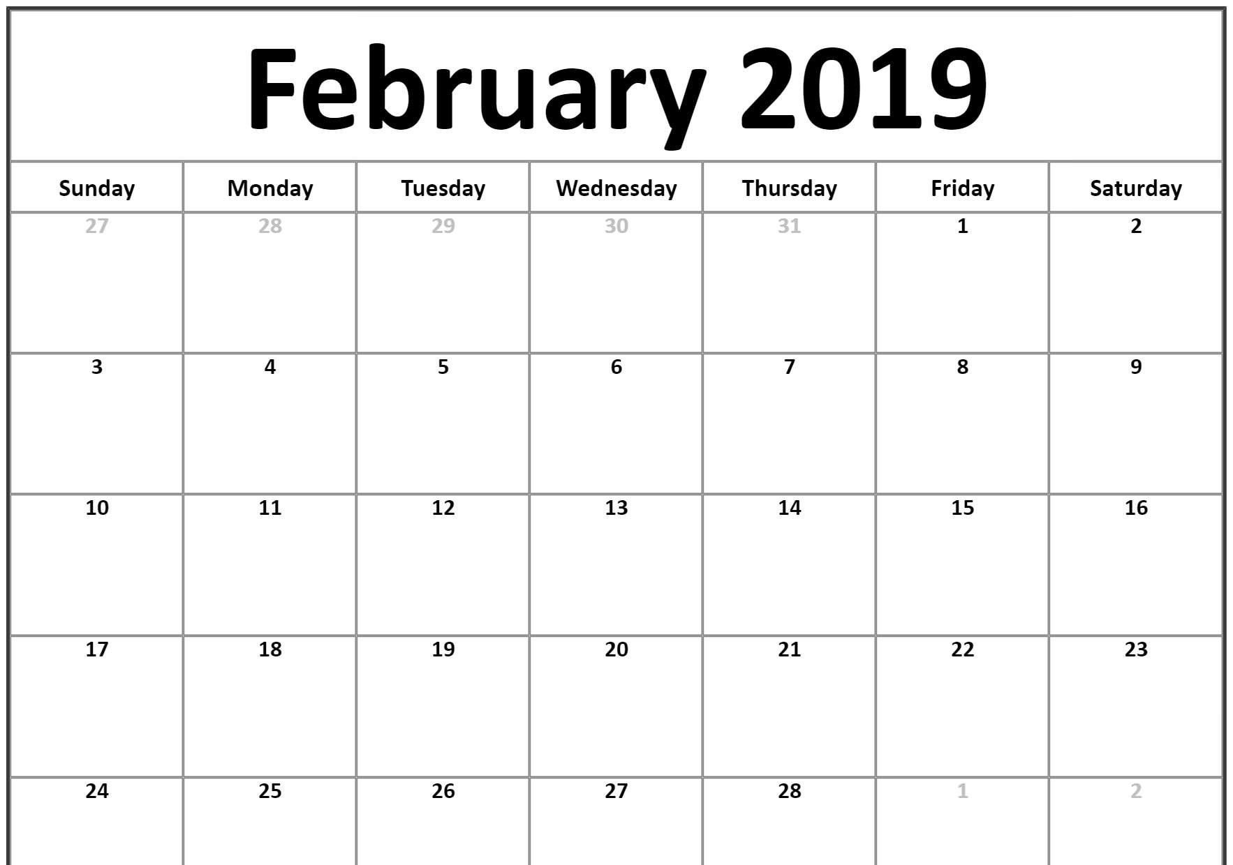 Small 2019 February Printable Calendar #landscape | February 2019 Calendar 2019 Small Printable