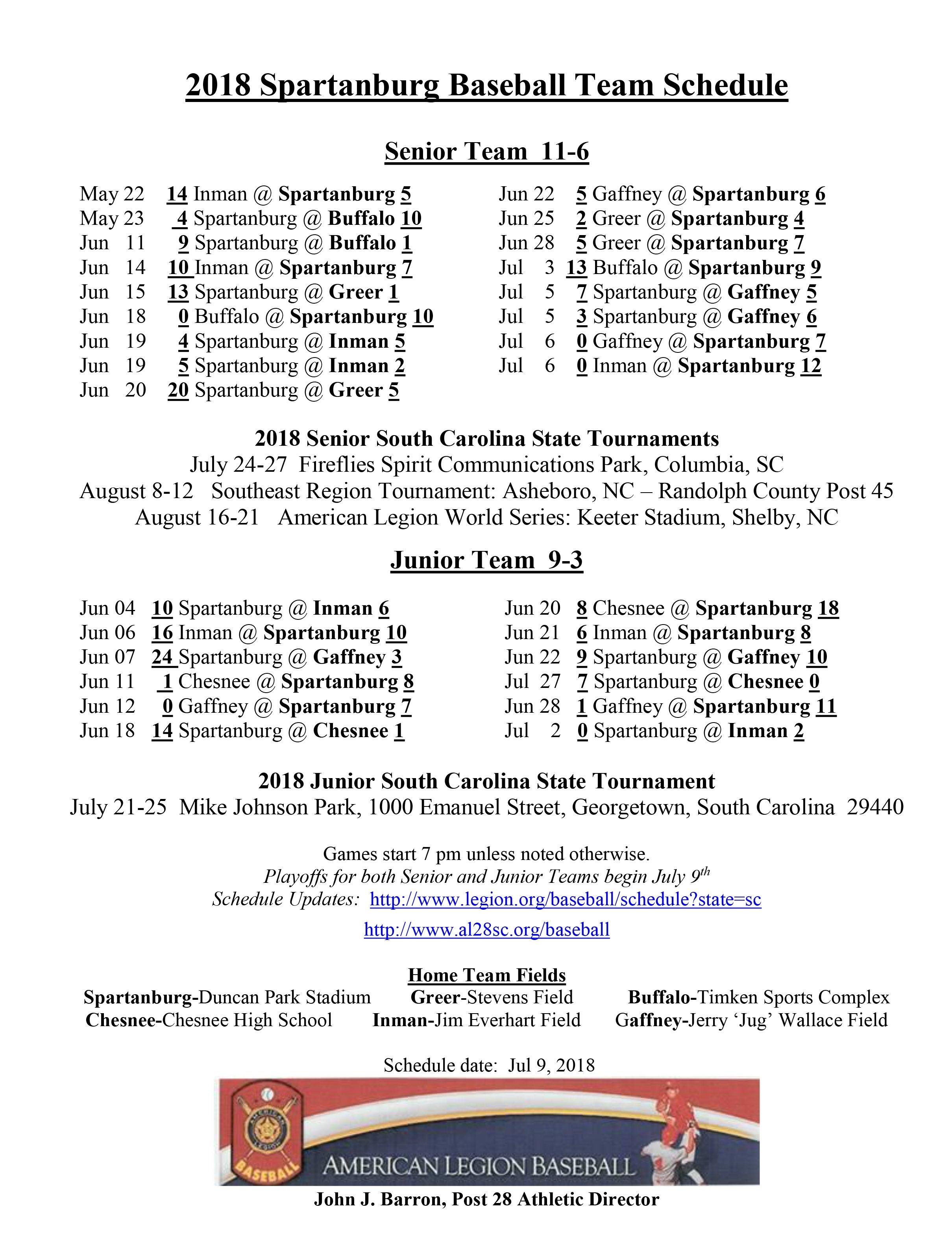 Spartanburg American Legion Post 28 - Baseball Spartanburg District 6 2019 Calendar