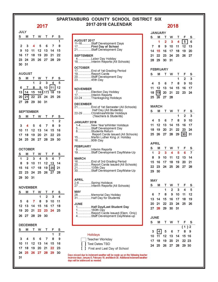 "Spartanburg Dist Six On Twitter: ""the 2017-2018 District Six Spartanburg District 7 Calendar 2019"