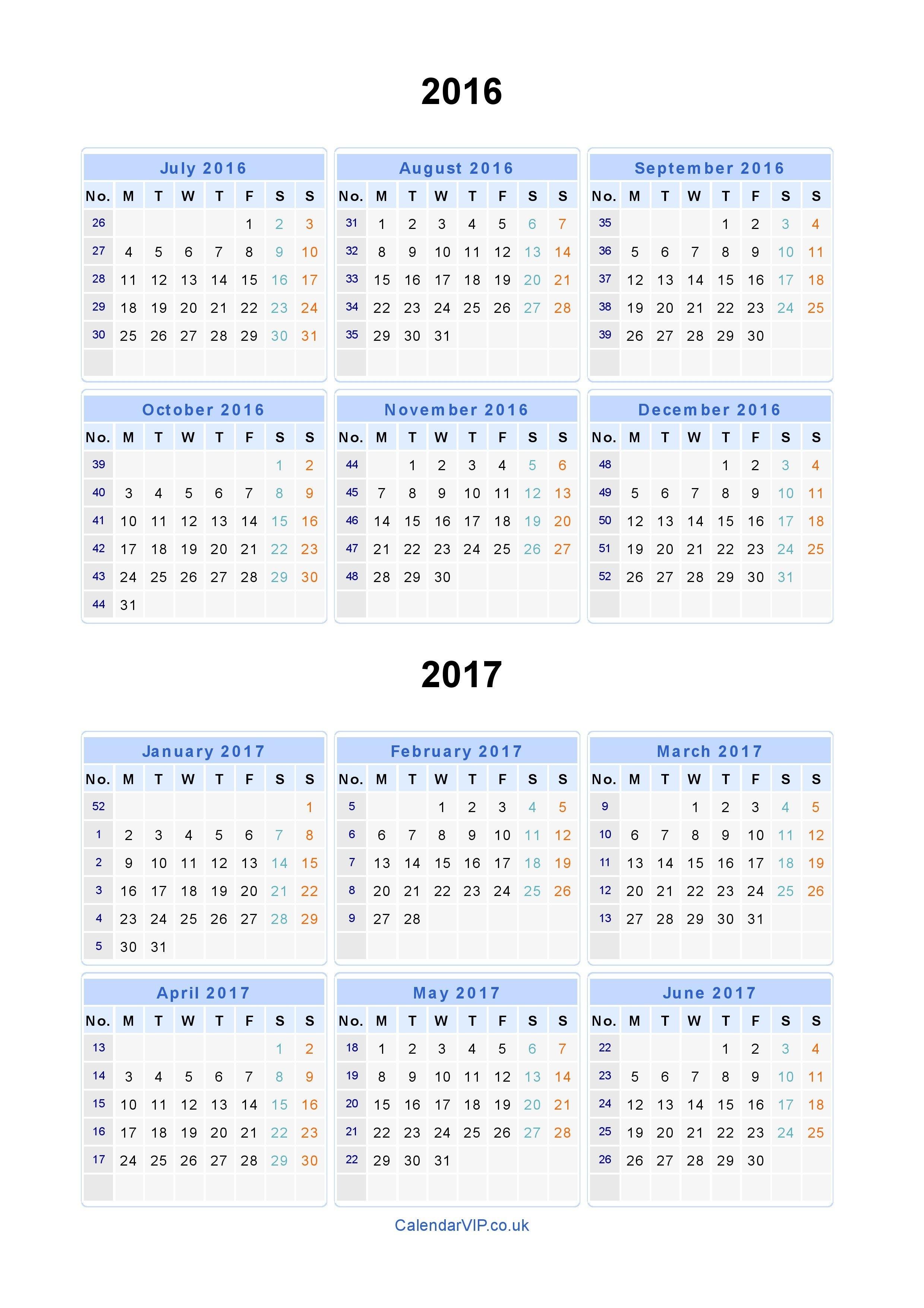 Split Year Calendars 2016 2017 - Calendar From July 2016 To June 2017 July 9 2019 Calendar