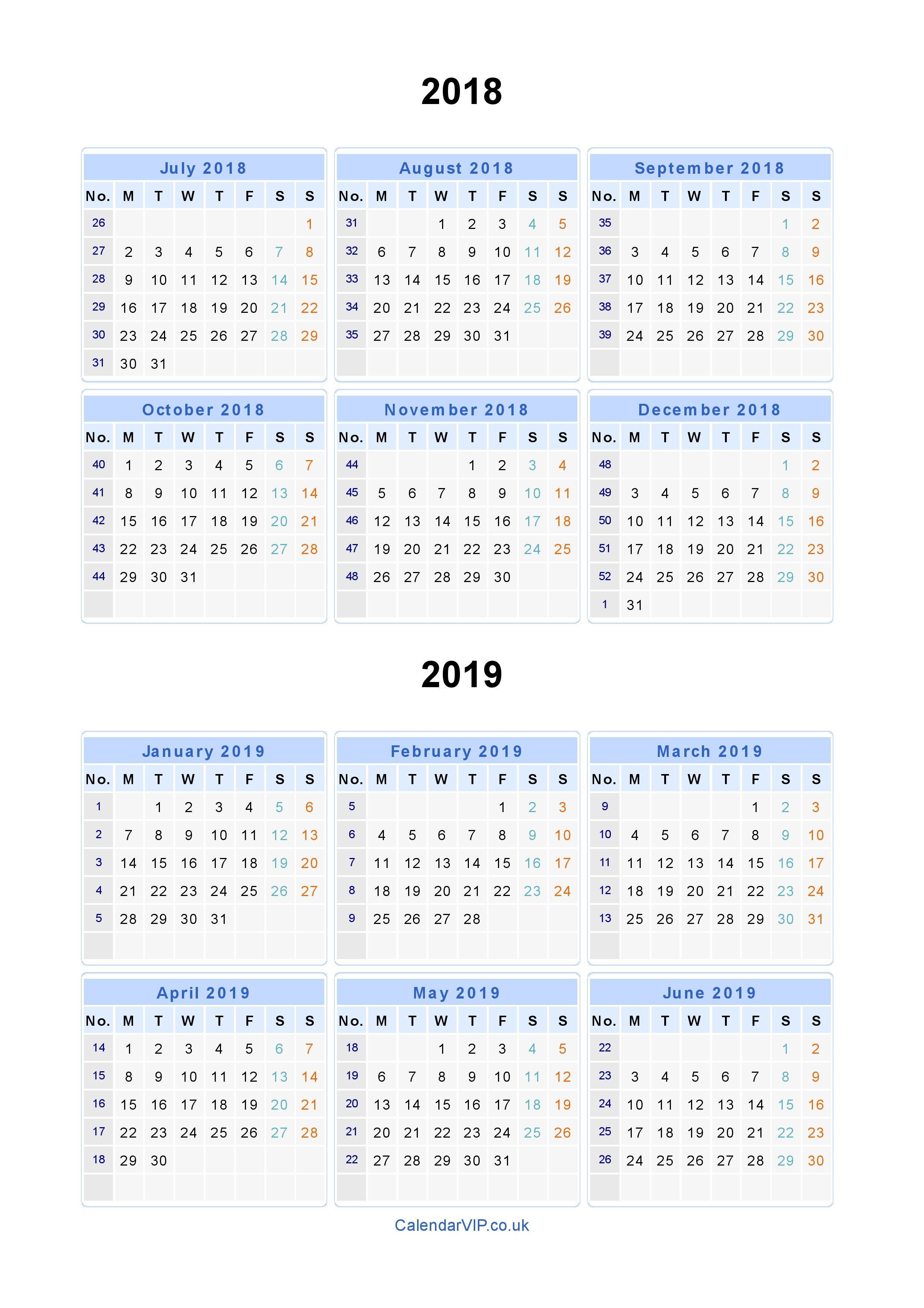 Split Year Calendars 2018 2019 - Calendar From July 2018 To June 2019 4-5-4 Calendar 2019