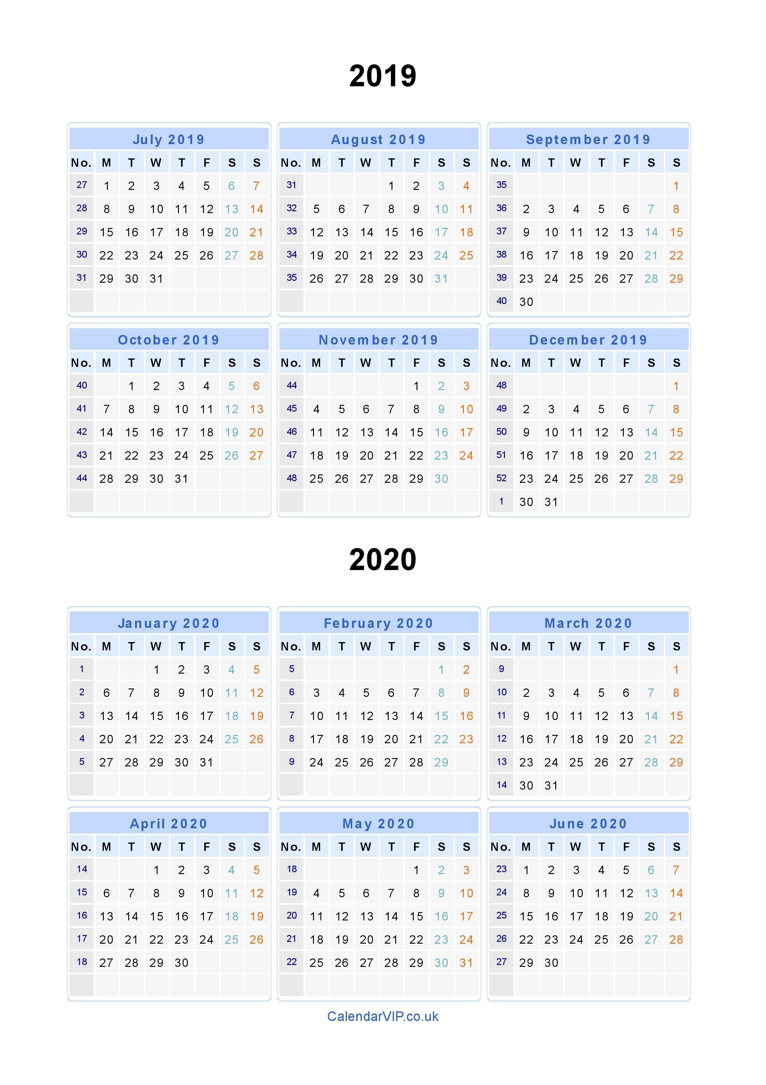 Split Year Calendars 2019 2020 - Calendar From July 2019 To June 2020 Calendar 2019 And 2020