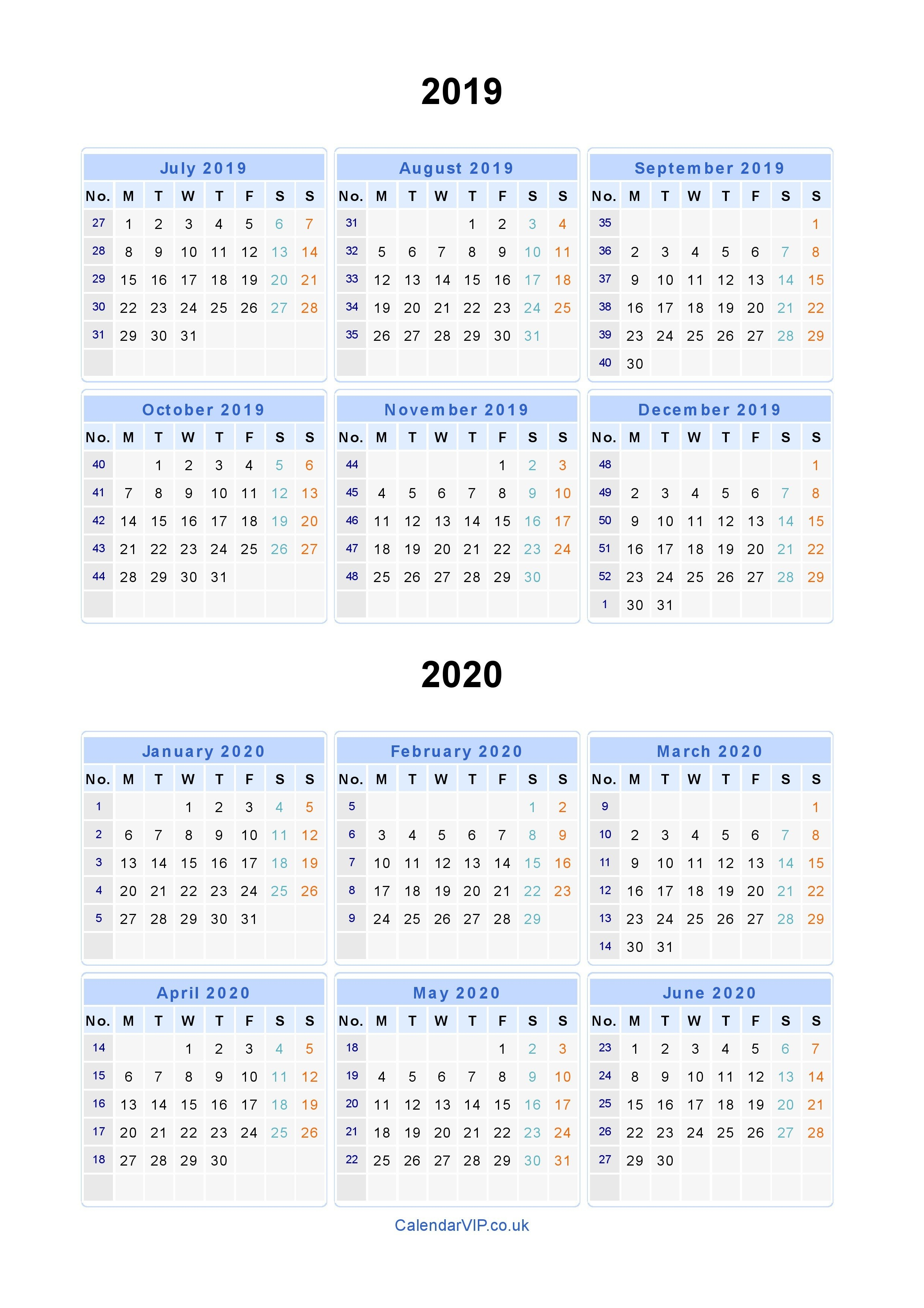 Split Year Calendars 2019 2020 - Calendar From July 2019 To June 2020 Calendar 2019 To 2020