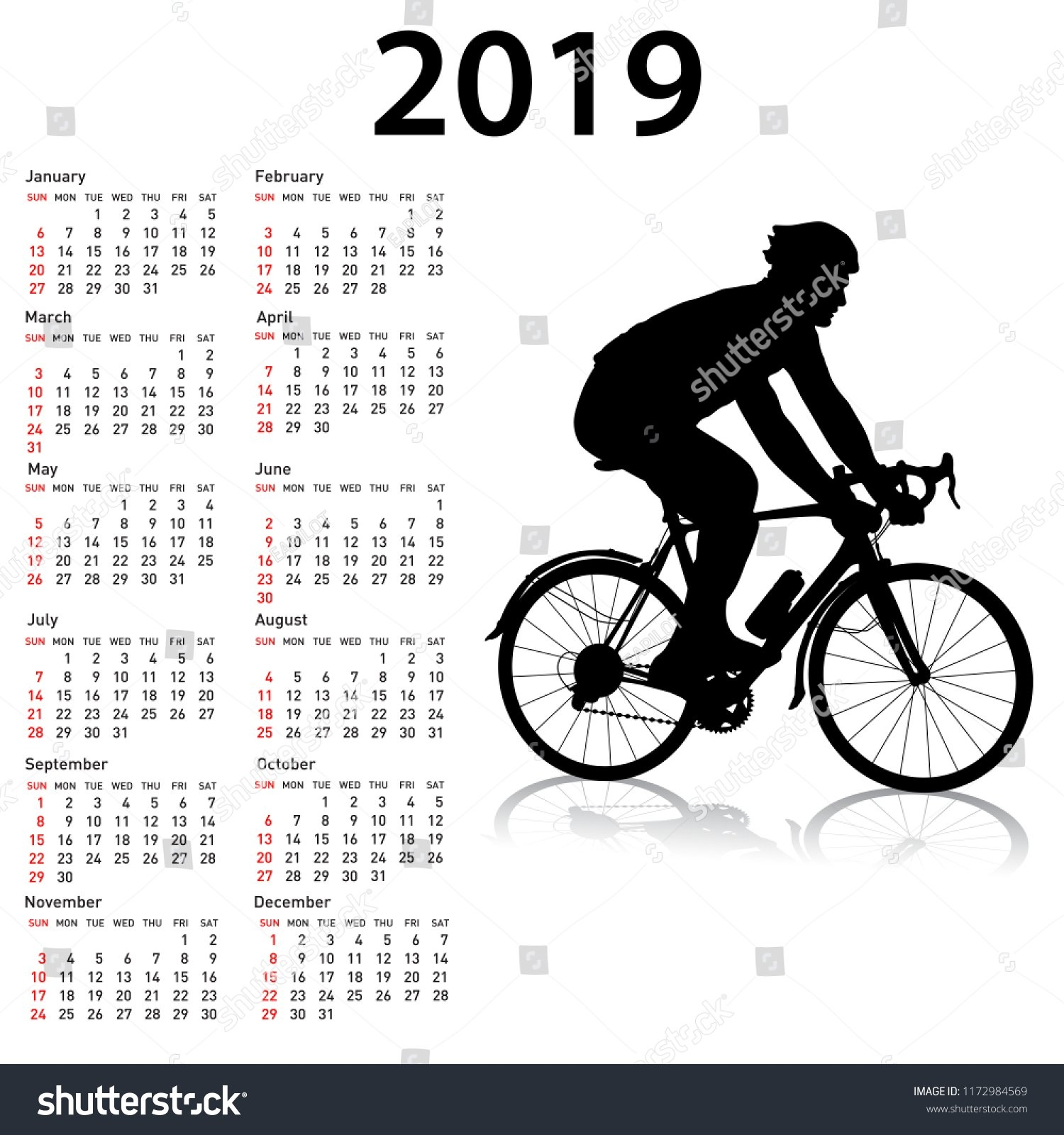 Sports Calendar 2019 Week Starts Sunday Stock Illustration 4 Week Period Calendar 2019