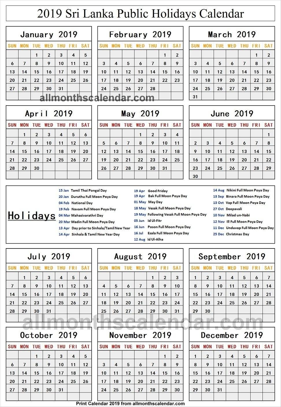 Sri Lanka Holiday List 2019 | Holidays Calendar 2019 | Holiday Calendar 2019 Holidays List