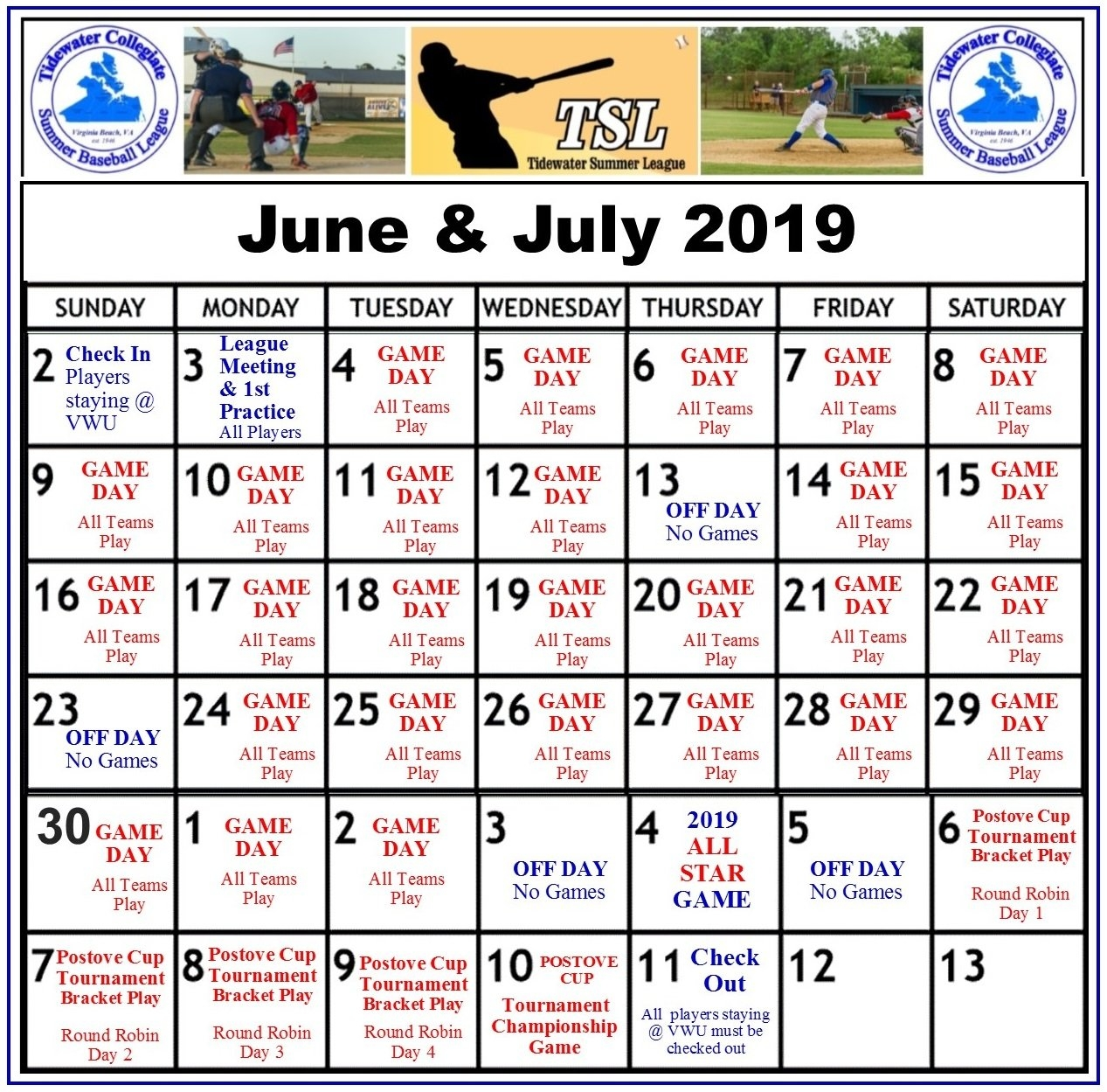 Summer 2019 Calendar Update 8.17.18 | Tidewater Summer League Calendar 2019 Summer