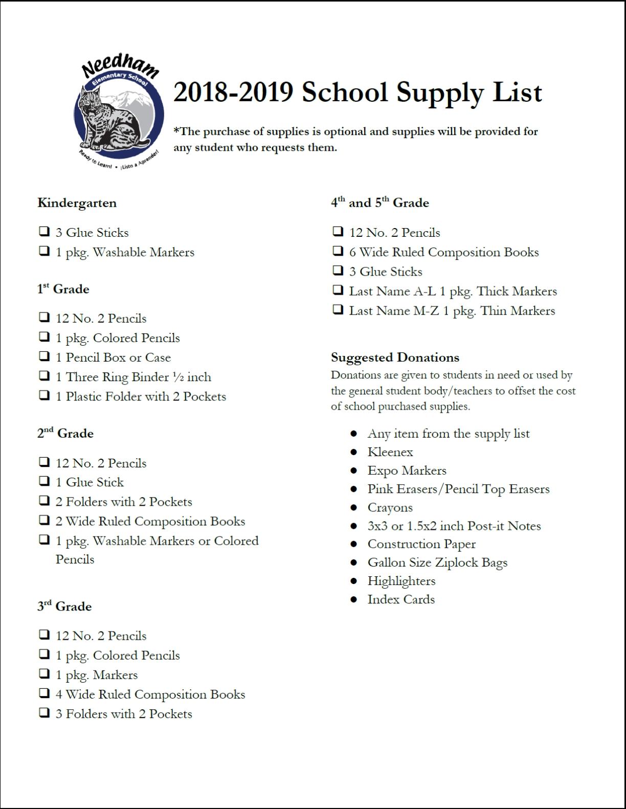 Supply List – For Families – Needham Elementary 9R Calendar 2019