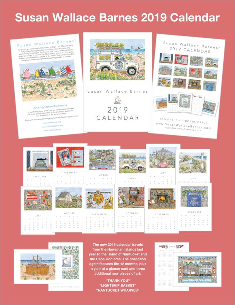 Susan Wallace Barnes * 2019 * - 5 X 7 2019 Calendar - Cachet Wellesley Calendar 2019 5X7