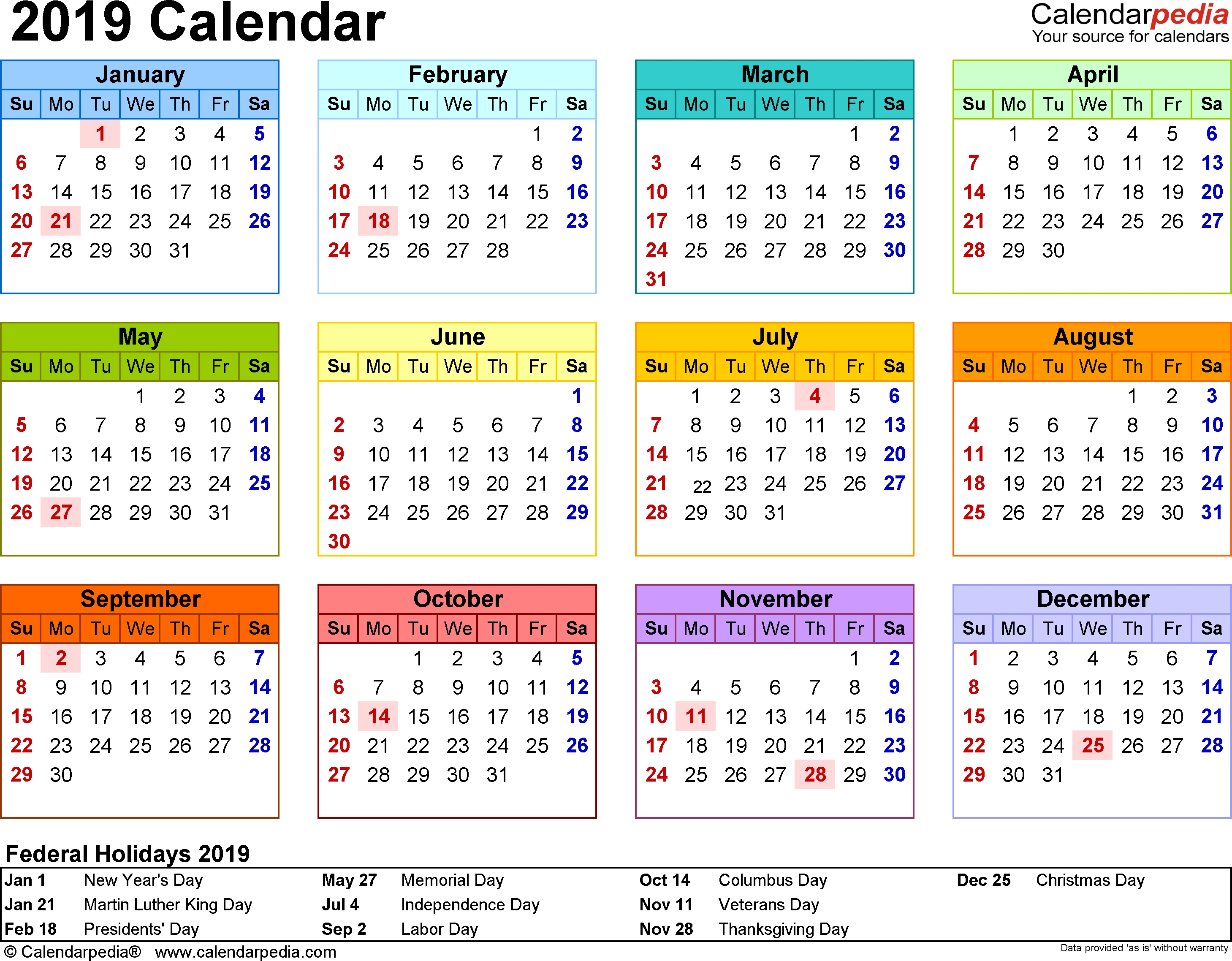 Template 8: 2019 Calendar For Word, Year At A Glance, 1 Page, In Calendar 2019 Thanksgiving