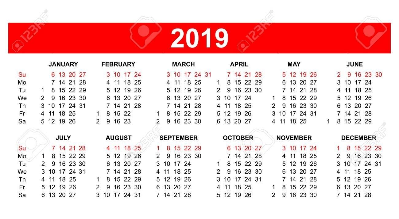 Template - Usa (American) Calendar Grid 2019 In Vector. Royalty Free Calendar 2019 America