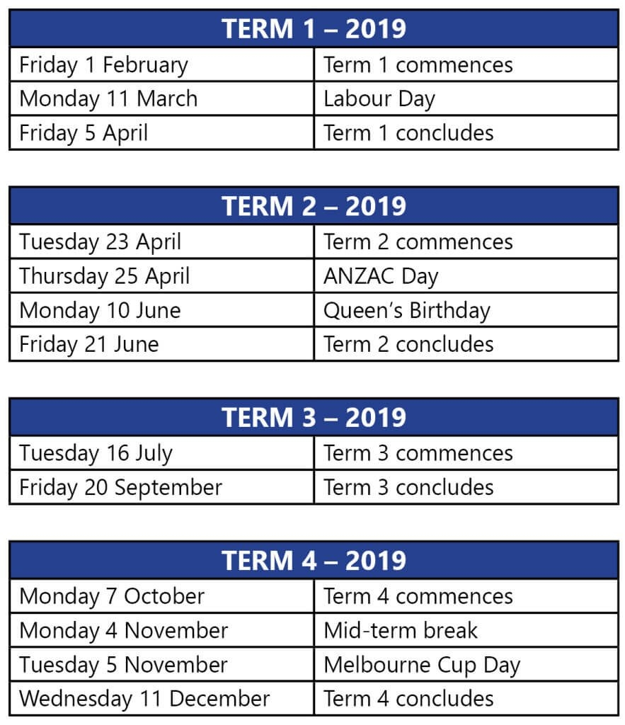 Term Dates 3 Term Calendar 2019