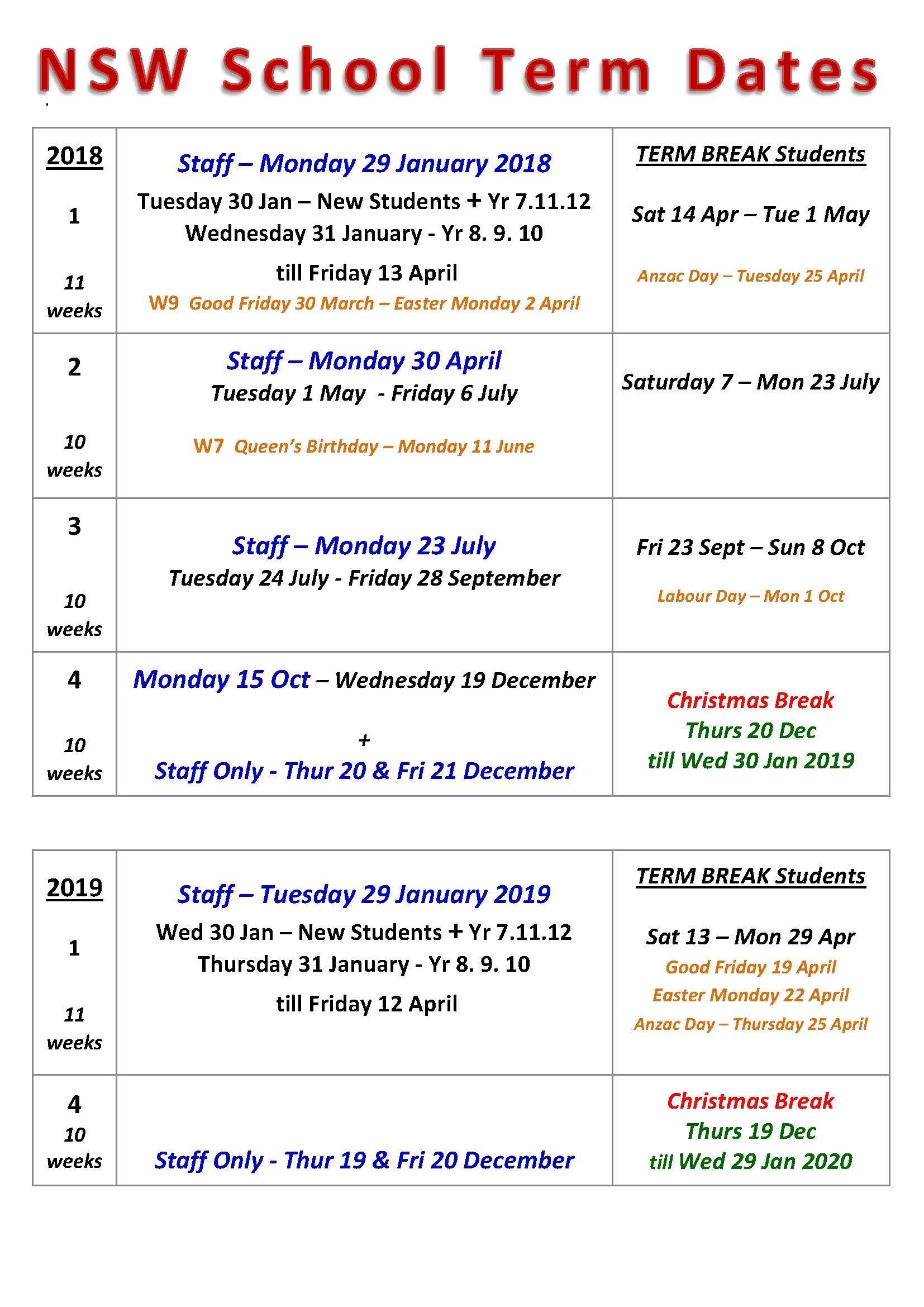 Term Dates | Chatswood High School 2019 Calendar Qld Education