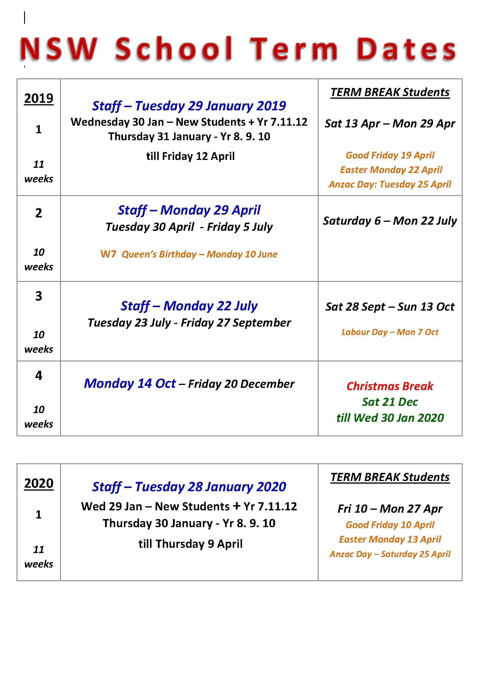Term Dates | Chatswood High School Calendar 2019 Holiday Dates