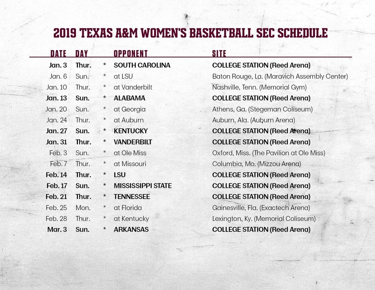 """Texas A&m Women's Basketball On Twitter: """"mark Your Calendars Texas A&m Calendar 2019"""