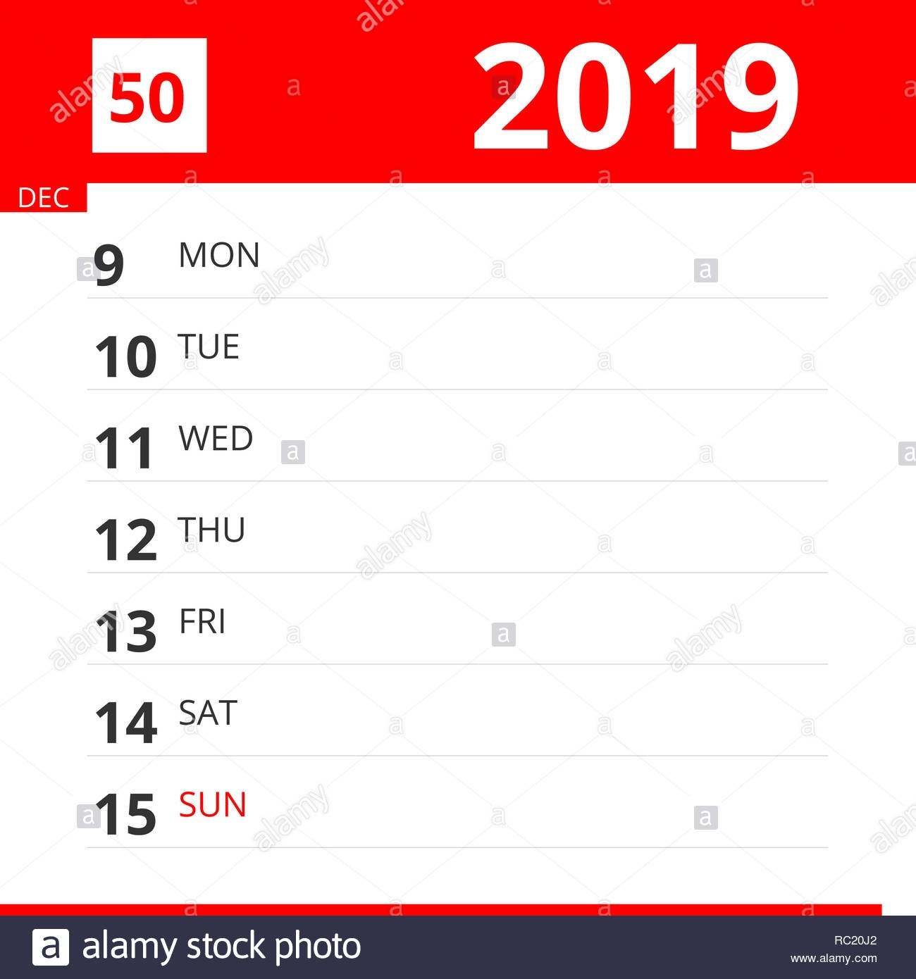 The Reminder Stock Photos & The Reminder Stock Images - Page 52 - Alamy Calendar Week 50 2019