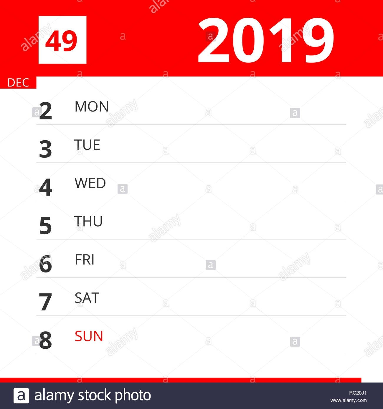 The Weekly Stock Photos & The Weekly Stock Images - Page 58 - Alamy Calendar Week 49 2019
