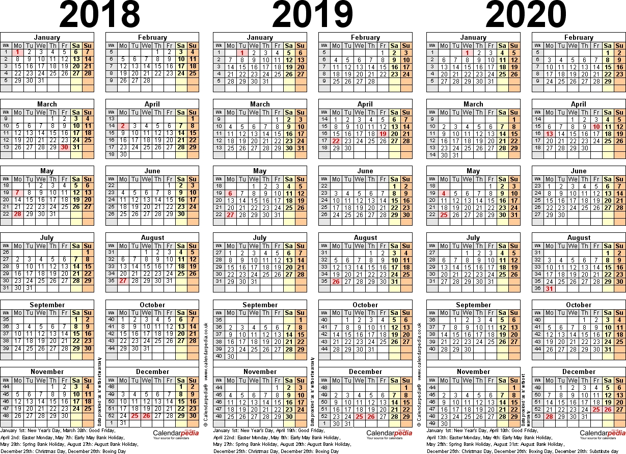 Three Year Calendars For 2018, 2019 & 2020 (Uk) For Pdf 2019 Calendar 4-5-4