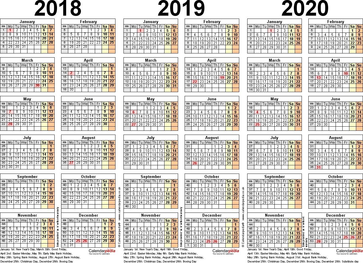 Three Year Calendars For 2018, 2019 & 2020 (Uk) For Pdf 4-5-4 Calendar 2019