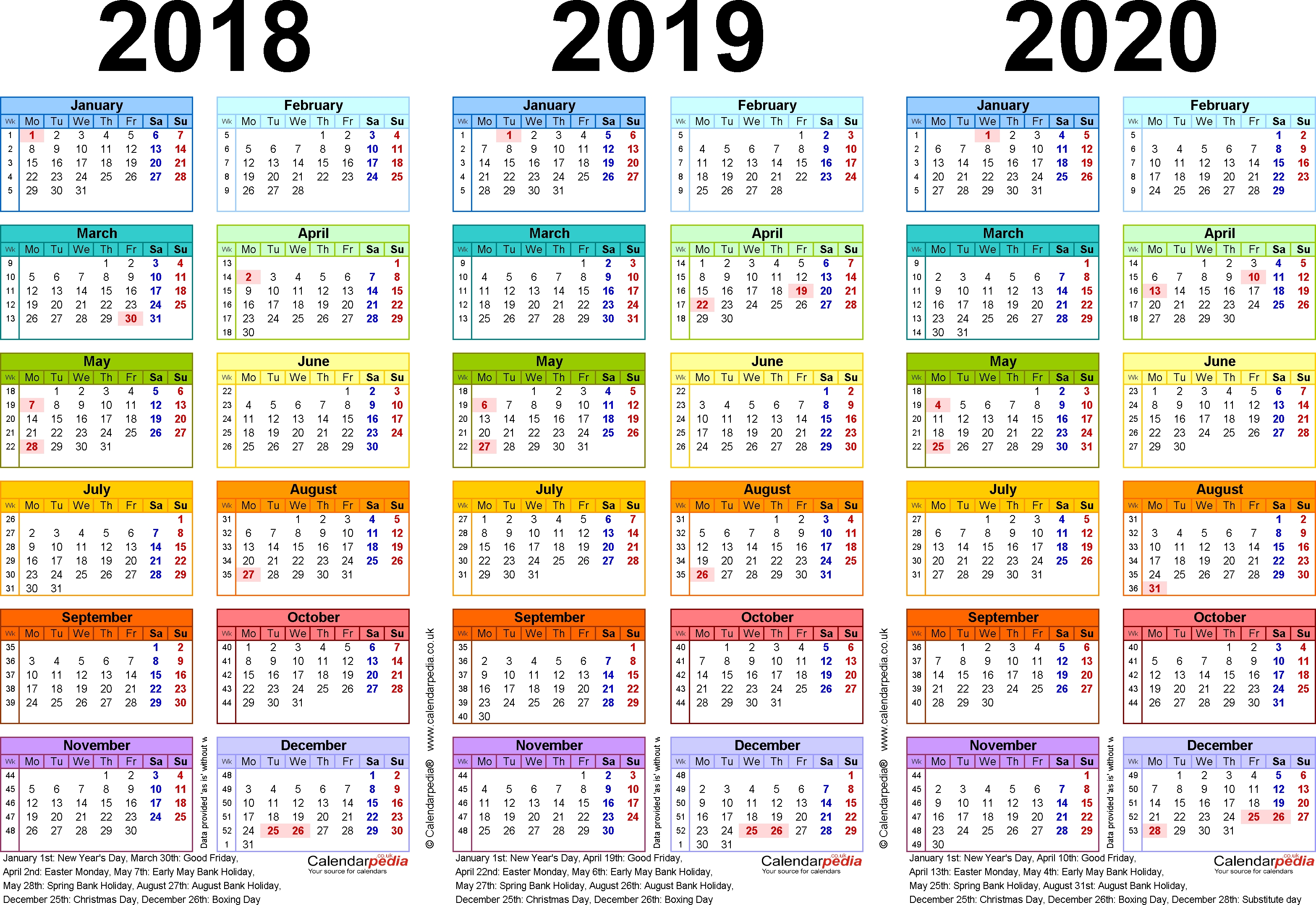Three Year Calendars For 2018, 2019 & 2020 (Uk) For Word Calendar Week 37 2019