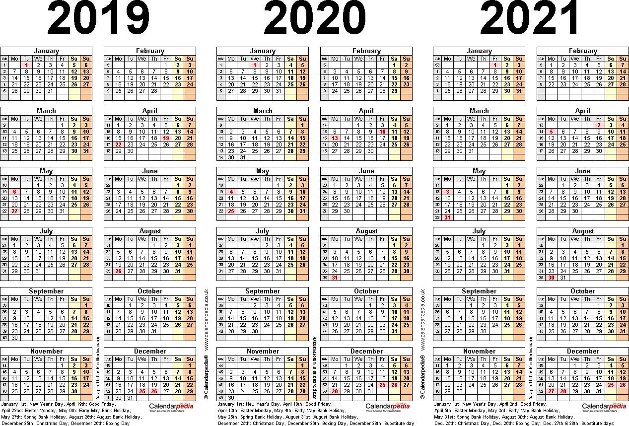 Three Year Calendars For 2019, 2020 & 2021 (Uk) For Pdf 3 Year Calendar 2019