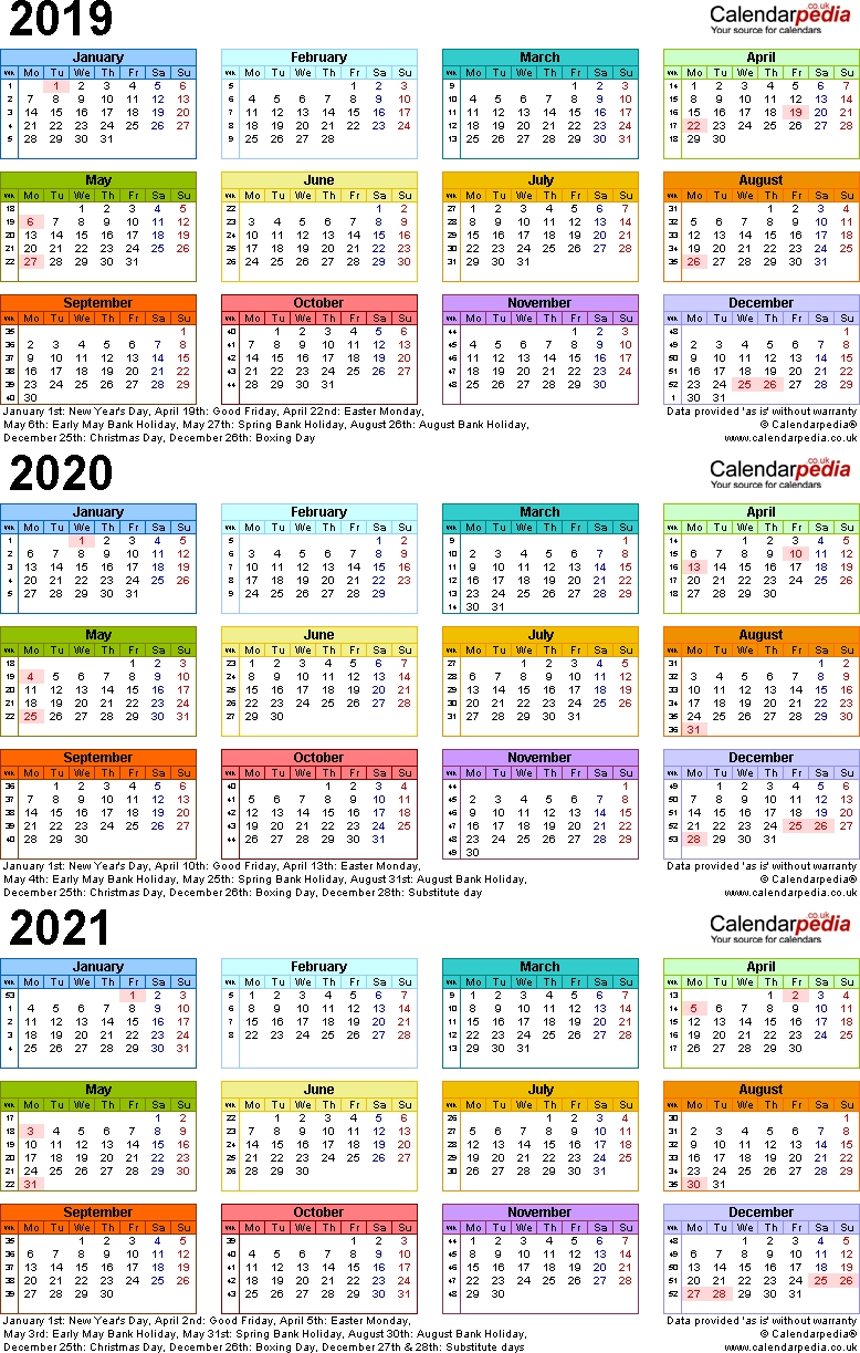 Three Year Calendars For 2019, 2020 & 2021 (Uk) For Pdf 3 Year Calendar 2019 To 2021