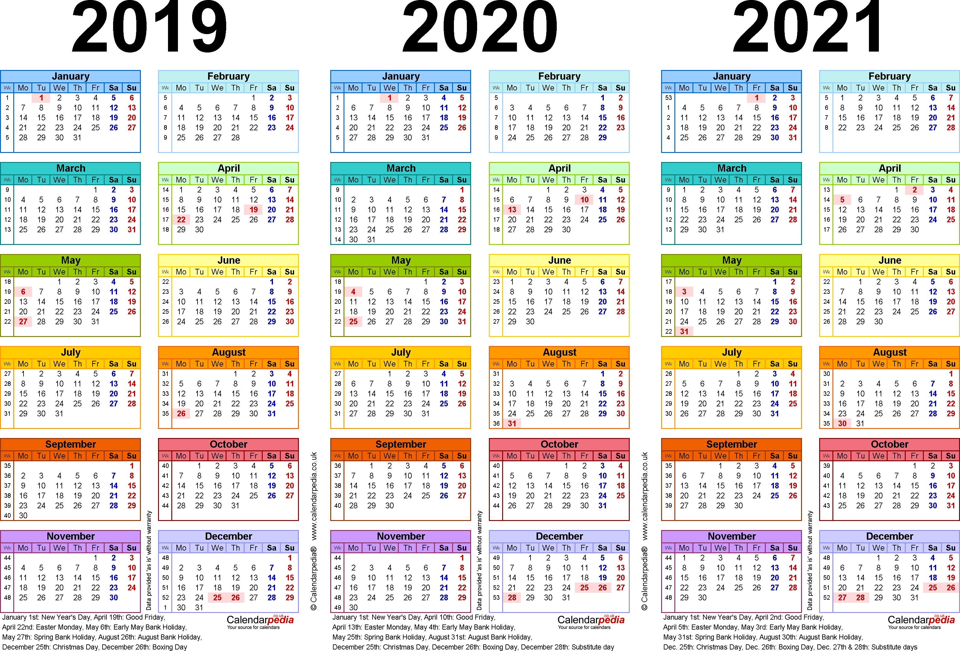 Three Year Calendars For 2019, 2020 & 2021 (Uk) For Pdf 3 Year Calendar 2019