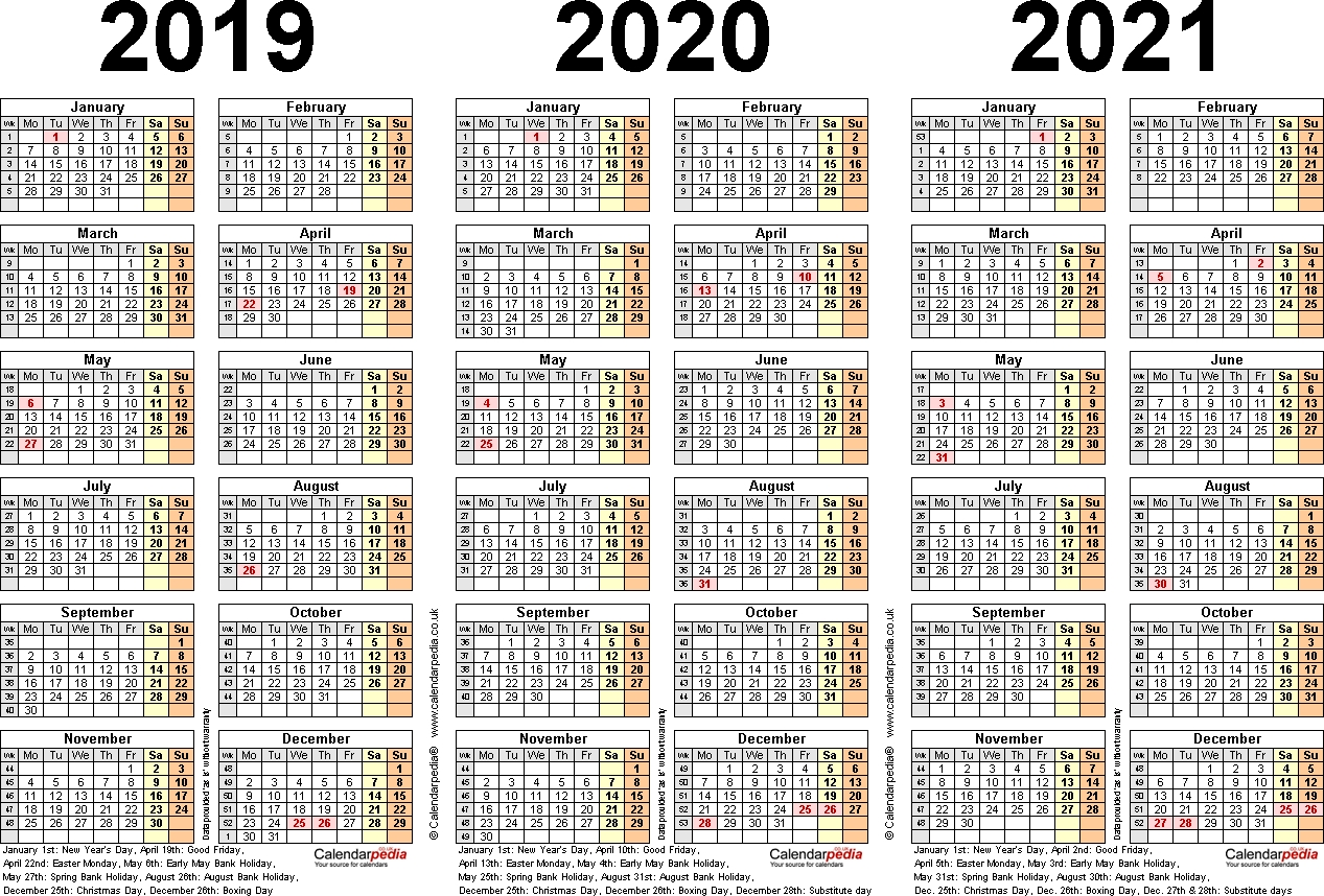Three Year Calendars For 2019, 2020 & 2021 (Uk) For Pdf 4 Year Calendar 2019 To 2022 Printable